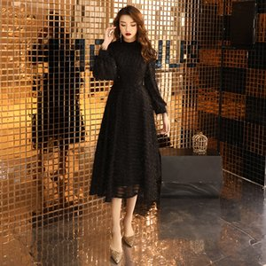 Black Muslim Evening Dresses 2020 A-line Long Sleeves Length Lace Dubai Saudi Arabic Long Elegant Evening Gown LF197