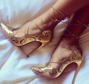 2019 New Sexy Mulheres Bombas Roman Gladiator Sandals ver através Shoes céu aberto Tornozelo Cruz Amarrado Fino Salto Alto 12CM
