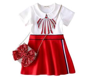 Niñas de gama alta vestido bordado marca de moda vestido de niña de manga larga camisa de verano de las mujeres de moda de manga corta