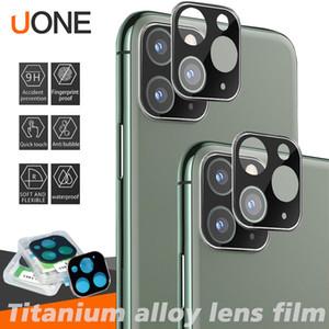 Caméra Protecteur d'écran pour iPhone objectif 11 Pro Max Caméra Film en verre trempé en alliage de titane Objectif ultra mince Full Back appareil photo Couverture rigide