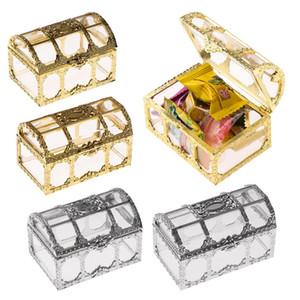 Favor de la boda del cofre del tesoro caja del caramelo de mini cajas de regalo de la categoría alimenticia de plástico transparente Joyería stoage Caso XD23175