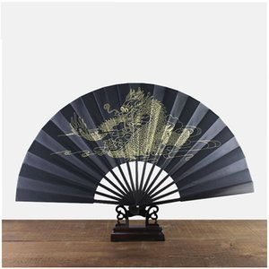 Grand Dragon d'or en soie Vintage Éventail homme noir chinois Fan pliant artisanat traditionnel bambou Fan ZC1434 ethnique