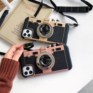 macchina fotografica d'epoca con le coperture cordicella del telefono mobile per iPhone 11 Pro 11 Pro Max X XS Max XR 7 8 Plus 6 6s 7 Plus caso