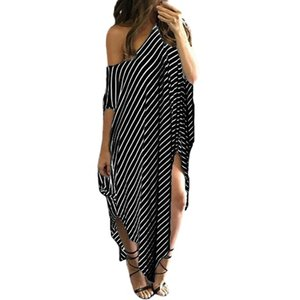 Tonichella Beach Dress Women Summer Black Stripes Dress Irregular Hem Plus Size Beachwear Sexy Split Loose Long Dresses Scl070 Y19072001