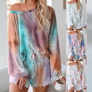 para mujer diseñador de Inicio juego de ropa de dos piezas del verano manga larga de los cortocircuitos grandes teñido lazo pijamas 45064