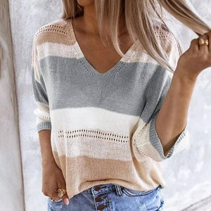 Sexy V-Neck Women Beach Cover Up Color Striped Half Sleeve Knited Beach Wear Casual Loose Hollow Sweater Femme Pullovers