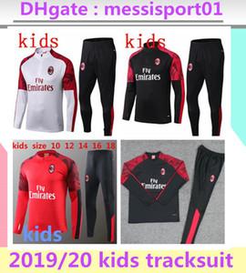 2019 cabritos del juego de entrenamiento AC Milan chándal survetement 19 20 niños Milán entrenar Traje del chándal de ropa deportiva de fútbol de manga larga chándal