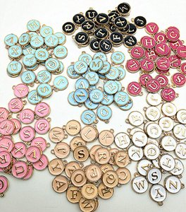 26pcs 12 * 14MM Round gold enamel alphabet charms color capital letter beads initial pendants alloy jeweler making superies DIY
