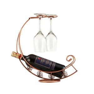 New-Retro Wine Bottle Holder Wine Rack Champagne Bottles Stand Glass Cup Holder Display Hanging Drinking Glasses Stemware Rack S