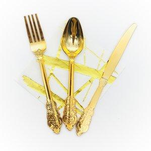 6 Set / 18pcs metallo rosa / oro / argento posate in plastica intagliato posate in rilievo set cucchiaio forchetta forniture per la festa nuziale forniture