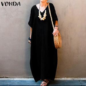 Dress Bohemian estate Donne Vestito estivo VONDA Vintage Batwing del partito del manicotto maxi Vestito lungo femminile casuale allentato Vestido Plus Size