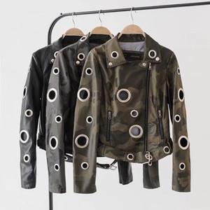 Frauen Winter-Eyelet Camouflage Faux-Lederjacke weiblichen Punkmetallring Nieten Motorrad-Mantel-Straße Schwarz Biker Jackets