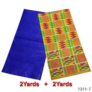 Africanos telas de la ropa 2020 Ankara Nueva poliéster de cera de alta calidad 2 + 2 yardas de tela para africana Partido Dres 1311-1