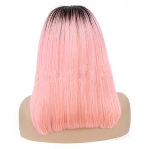 Peluca delantera del cordón rosado de la Virgen brasileña del pelo 1B / 1B / Grey Ombre Cabello humano 13x4 del frente del cordón peluca Bob Bob peluca recta 8-16inch