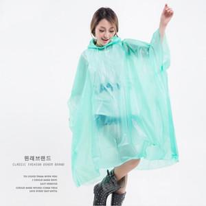 PEVA Impermeables no desechable se espesó la capa sólida capa de lluvia E-Friendly poncho impermeable del impermeable al aire libre viaje largo Rainwear LJJA3839