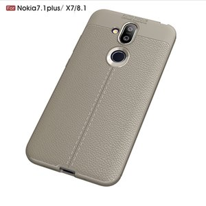 Slim Fit Ultra Thin Carbon Fiber Case for Nokia 7.1 Plus Leather PU Soft TPU Silicone Rubber Bumper Shockproof Phone Back Cover