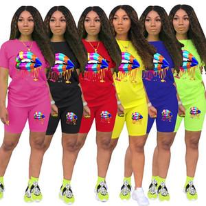 ZOOEFFBB más el tamaño de dos piezas del verano de las mujeres chándal Salón usar ropa de manga corta de la impresión del labio chándales Top + Shorts del motorista