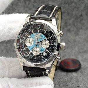 Transocean único cronógrafo de cuarzo Unitime multiusos al aire libre Negro Dial del reloj para hombre Relojes de pulsera 44 mm con correa de cuero Negro