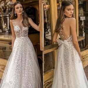 2020 Muse par Berta robes de mariée pure illusion Tulle robes dos nu Robes de mariée de soirée sexy Behamian Une ligne de robe de mariée