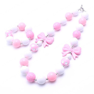 Розовый Лук Девушки Дети Коренастый ожерелье комплект ювелирных изделий моды Bubblegum ожерелье Браслеты For Baby Party для детей Подарки