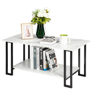 Simple 2 Layers Iron Coffee Table 1.5cm Thick MDF Imitation Marble Square Tabletop Storage Table White