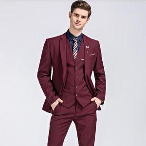 2020 Mens Suits Slim Fit 3 Pieces bridegroom Wedding Tuxedos Men Peaked Lapel Formal Prom Blazer Groomsmen set (Jacket+Pants+vest) w863