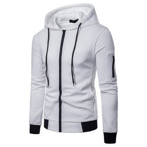 Sweatshirts Slim Hoodie White Casual Zip-Up Fit Mens Men Cotton Hooded Streetwear Hip Hop Homme Sportswear Plaid Sweat Hoodies Xxetg