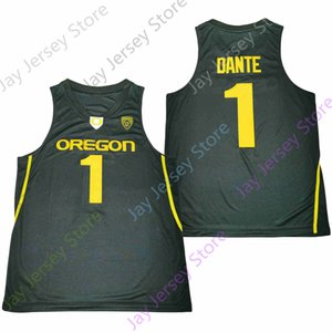 2020 New NCAA College Oregon Ducks Jerseys 1 Dante Basketball Jersey Green Black Size Youth Adult All Stitched