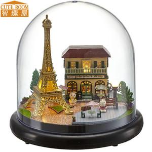 Miniature Cutebee DIY Casa com tampa protetora contra poeira Móveis LED Música Modelo Building Blocks Brinquedos para Crianças Casa De Boneca B018