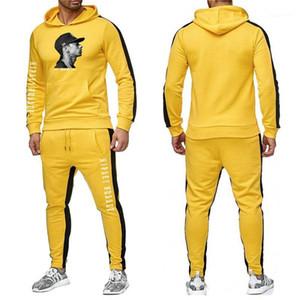 Hussle Erkek 2PCS Tasarımcı eşofman Çizgili Baskılı Uzun Kollu Kapşonlu İki adet spor Erkek Giyim Nipsey ayarlar