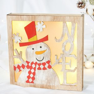 Рождество деревянные светодиодные дом Рождество милый орнамент Главная окно праздничное украшение светодиодные деревянные украшения ST