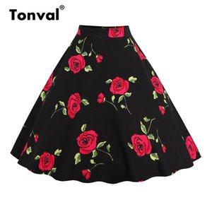 Tonval Çiçek Vintage Artı Boyutu Salıncak Etek Retro Çiçekler Baskı Midi Etekler Bayan Yüksek Bel Pamuk Bir Çizgi Etek Y19043002