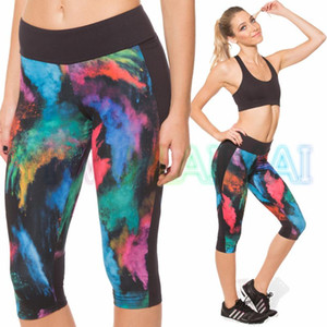 JIGERJOGER 2020 Spring Printed Blue Green Ink Galaxy Hot Running Shorts Pant Slog Leggings Capris Swim Short for Fitness