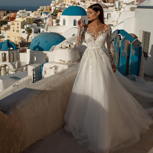 Elegant Long Sleeve Lace Wedding Dresses A Line Sweep Train Tulle Appliques Beach Wedding Dress Maternity Pregnant Bridal Gowns 2020 Cheap