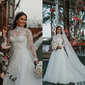 Modest Lace A Line Wedding Dresses Muslim High Neck Long Sleeves Bridal Gowns Vintage Full Lace Sweep Train Plus Size robe de mariée