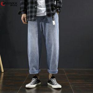 WWKK flojos hombre Jeans Vintage 2020 Primavera blanqueado otoño novio ocasional Curl dril de algodón pantalones de pierna ancha de gran tamaño de cintura alta Jean