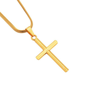 Cylindrical Cross Pendant Necklace Christian Titanium Steel Single Link Chain men's Necklace drops Statement Jewelry free shipping