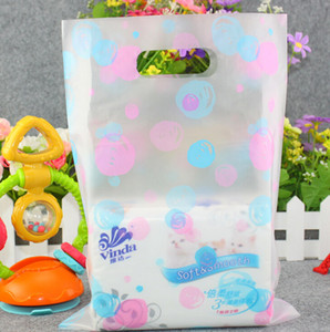 45PCS / حزمة ملونة النقاط هدية البلاستيك أكياس بلاستيكية وأكياس التسوق التجزئة البقالة حزب الإحسان حقيبة