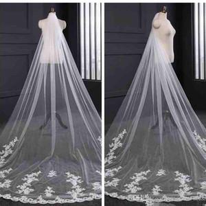 2020 neue elegante lange Tüll Spitze Applique Brautschleier Brautschleier passend zu den Brautkleidern