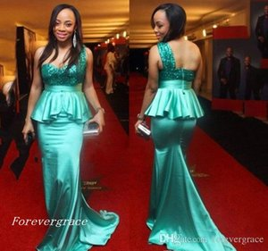 2019 New Backless One Shoulder Turquoise Evening Dress African Mermaid Sequins Open Back Formal Wear Party Gown Custom Made Plus Size