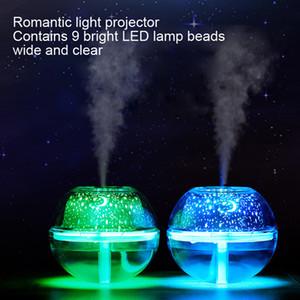 500ml umidificador de ar USB desktop Aroma Difusor Ultrasonic Noite de Cristal lâmpada do projetor Maker Mist LED Para Casa Y200416
