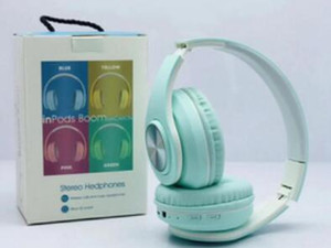 inPods Boom Macaron Casque stéréo sans fil Bluetooth 5.0 Support du casque lecteur SD pour Smart Phone DHL