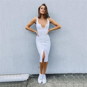 Göğüslü Elbiseler Seksi Scoop Boyun Backless Elbiseler Moda Doğal Renk Kolsuz Elbise Kadın Giyim Kadın Tasarımcısı Yalnız