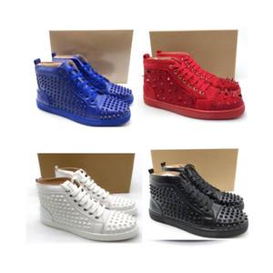 Sapatos de grife calfskin fundo vermelho high cut spike couro sedue calcanhar sneaker luxo sapatos de festa sapatos de corrida de couro genuíno
