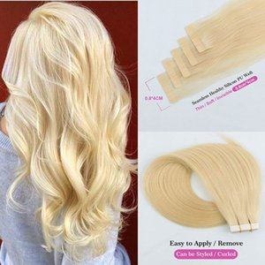 """Tape In Remy Human Hair Adhesive Extensions 14"""" 16"""" 18"""" 20"""" 22"""" 24"""" 20pcs Straight Skin Weft Bleach Blonde"""