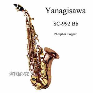 Nueva llegada de nivel curvo soprano Yanagisawa Japón Profesional caso Saxofón Soprano S-992 Bb instrumento musical del saxofón con las