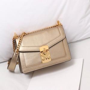 크로스 바디 가방 여성 일반 패션 어깨 가방 금속 체인 편지 양모 리얼 가죽 바느질 긴 숄더 스트랩