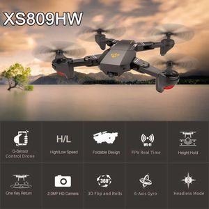 Avión no tripulado con la cámara Xs809 Xs809w Fpv Dron Rc Rc avión no tripulado helicóptero de control remoto visuo Xs809hw plegable avión no tripulado