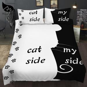 3PSC의 심플 블랙 + 화이트 침구 세트 고양이 / 개 / 그와 그녀의 커플 침구 베개 이불 커버 홈 섬유 침대 세트를 설정