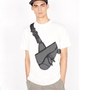 20SS Saddle Bag Printed Tee Fashion High Street Short Sleeves Summer Casual T-Shirt Solid Color Breathable Men Women Cotton Tee HFYMTX631